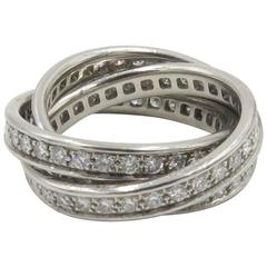 Cartier Diamond and White Gold Trinity Band Ring