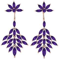 Ferrucci Marquise Amethyst Dangling Earrings