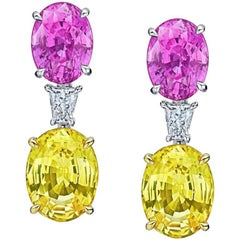 Oval Pink and Yellow Sapphire Diamond Earrings
