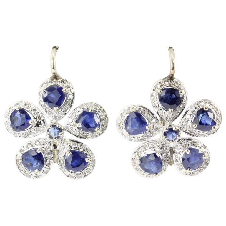 Retro White and Yellow Gold Natural Blue Sapphire Diamond Earrings