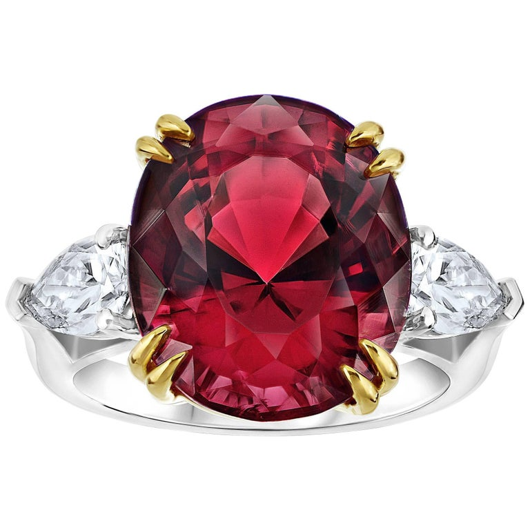 Striking 15.13 Carat Oval Red Spinel Diamond Ring 1