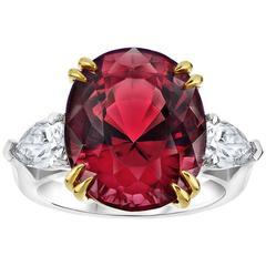 Striking 15.13 Carat Oval Red Spinel Diamond Ring