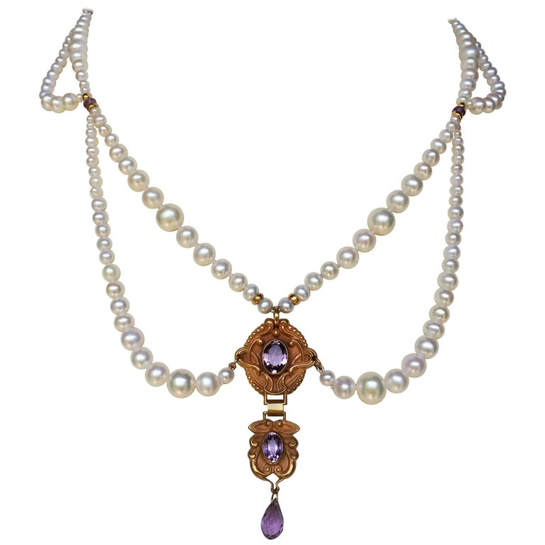 Marina J Graduated Pearl Necklace with Vintage Amethyst Double Pendant