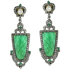Carved Emerald Earring with Diamonds