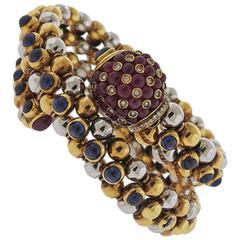 Gold Ruby Sapphire Cabochon Diamond Wrap Bracelet