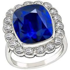 Vintage 10.30 Carat Sapphire Diamond Engagement Ring