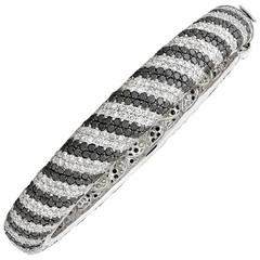 White and Black Diamond Bangle Bracelet 19.88 Carat