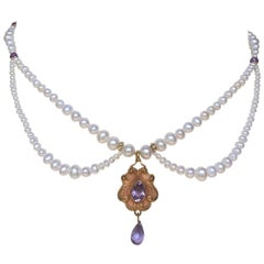 Marina J Graduated Pearl and Amethyst Necklace with Vintage Gold Pendant