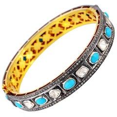 Rosecut Diamond and Turquoise Bangle
