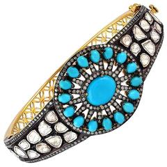 Turquoise and Rose Cut Diamond Bangle
