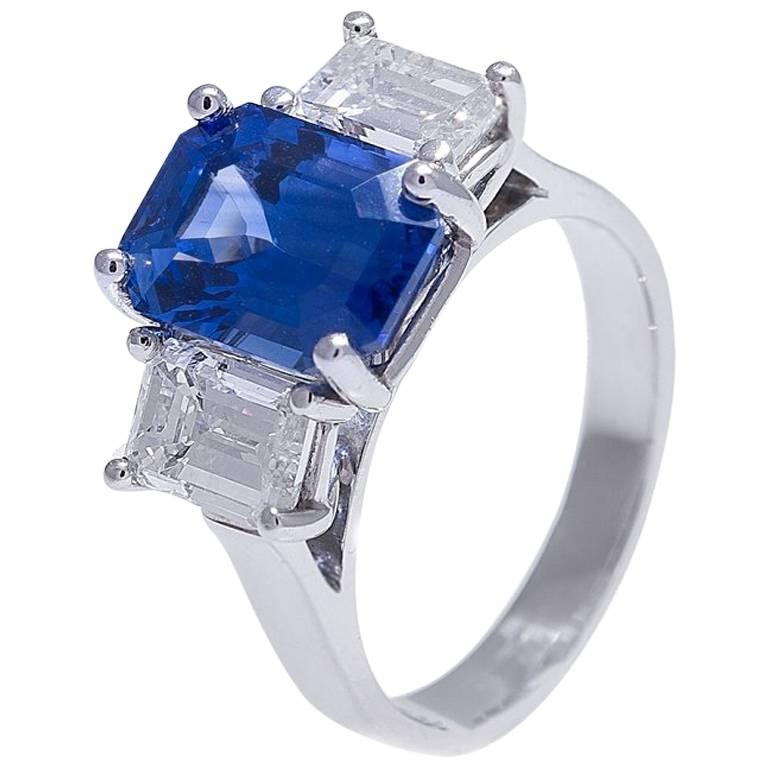 platinum sapphire and ring for sale at 1stdibs