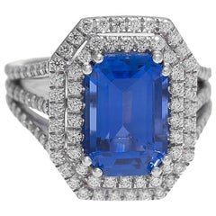 Stunning Platinum Emerald Cut Sapphire and Diamond Cocktail Ring