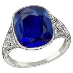 Vintage 5.76 Carat Sapphire Diamond Platinum Ring