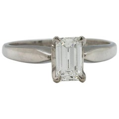 Platinum Diamond Solitaire Engagement Ring .60Ct Emerald Cut E-VS1 EGL Cert