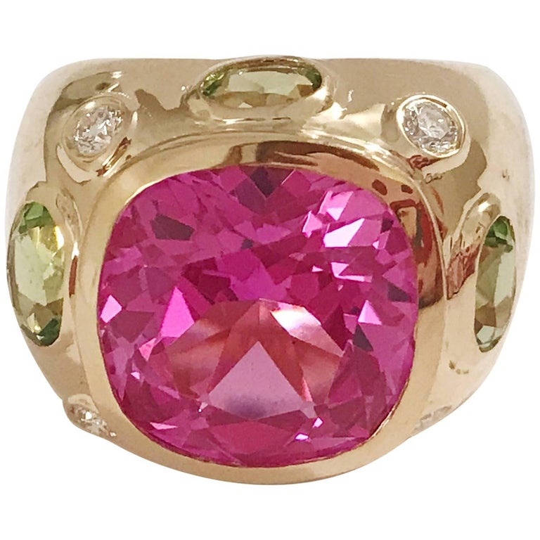 Bonheur Ring, Pink Topaz and Peridot and Diamond Yellow Gold Domed Ring 1