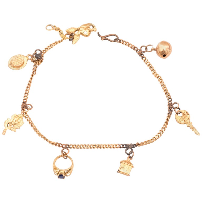 1920s Art Deco 18 Karat Rose Gold Charm  Bracelet