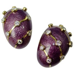 Tiffany & Co. Schlumberger Purple Paillonne Enamel and Diamond Earclips