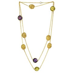 Alex Soldier Lemon Citrine Amethyst Yellow Gold Textured Necklace One of a Kind