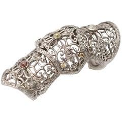 Diamond Silver Full Finger Ring