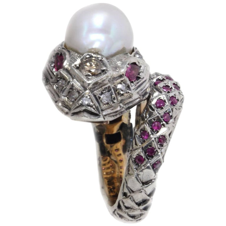 Fashion Snake Shape Gold  and Silver Ring For Sale