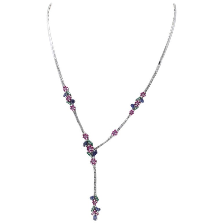 Diamond Ruby Emerald and Sapphire 18 kt Gold Necklace