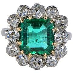 Art Deco 3.0 Carat Natural Emerald 3.0 Carat Old Mine Cut Diamond Platinum Ring