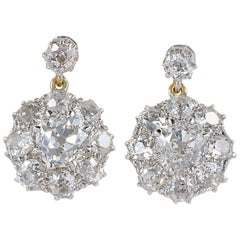 Magnificent Belle Epoque 8.0 Carat Diamond Platinum Cluster Earrings
