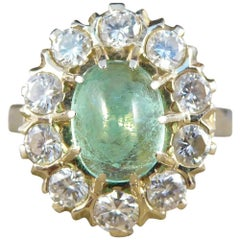 Vintage Cabochon Emerald and Diamond Cluster Ring in 18 Carat Gold and Platinum