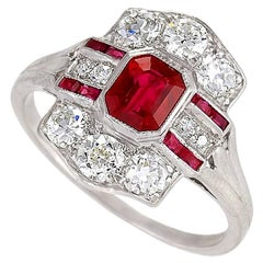 Tiffany & Co. 1920's Art Deco Ruby, Diamond and Platinum Ring