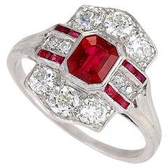 Tiffany & Co. 1920's Art Deco Ruby, Diamond and Platinum Ring