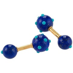 Schlumberger for Tiffany & Co. 1960's French Lapis Lazuli and Turquoise Cufflink