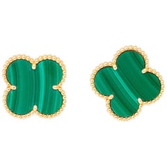 Van Cleef & Arpels Vintage Alhambra, Large Size Malachite Gold Earrings