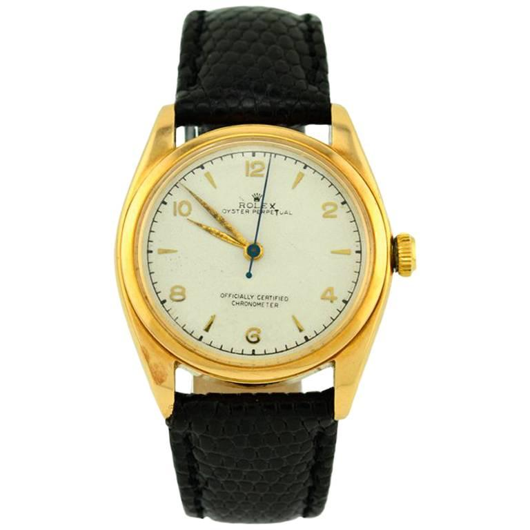 Rolex Yellow Gold Oyster Perpetual Wristwatch Ref 4392, circa 1948 For Sale