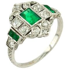 Art Deco 0.50 Carat Emerald and Diamond Platinum Ring