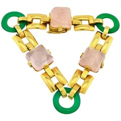 Retro Rose Quartz and Chrysoprase Gold Link Bracelet