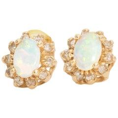 1960s Opal and Diamond Studs
