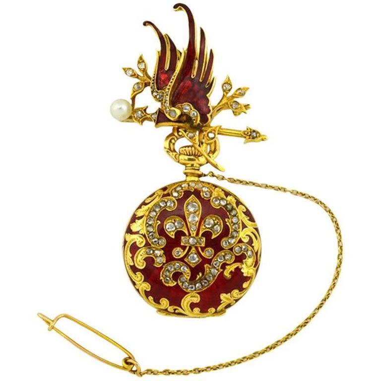 Wittnauer Yellow Gold Enamel Antique Pendant Pocket Watch 1