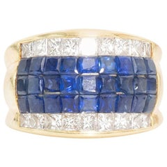 1960s Diamond and Sapphire 18 Karat Gold Cocktail Ring
