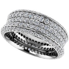 Emilio Jewelry Five-Row Pave Diamond Eternity Band