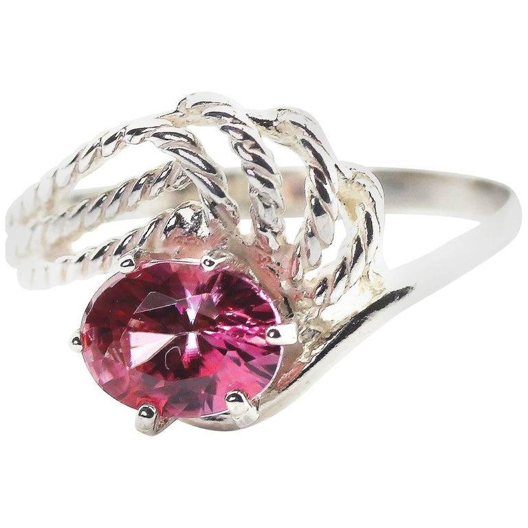 1.43 Carat Pink Spinel Sterling Silver Ring