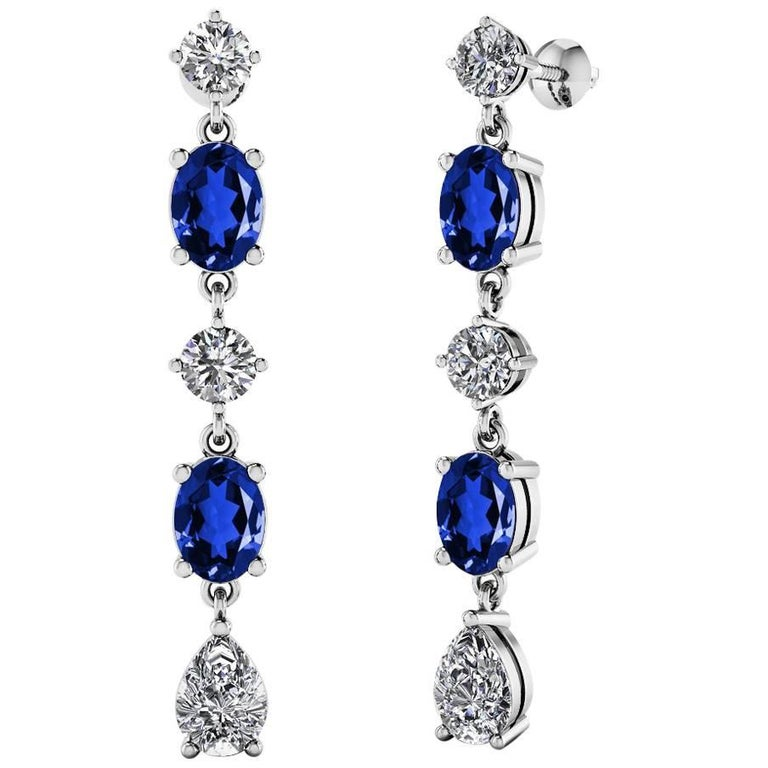 Fancy Diamond Sapphire Drop Earrings For Sale
