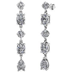 Oval and Pear Shape Dangling Red Carpet Diamond Earrings