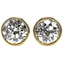 Old European Cut Diamond Gold Stud Earrings