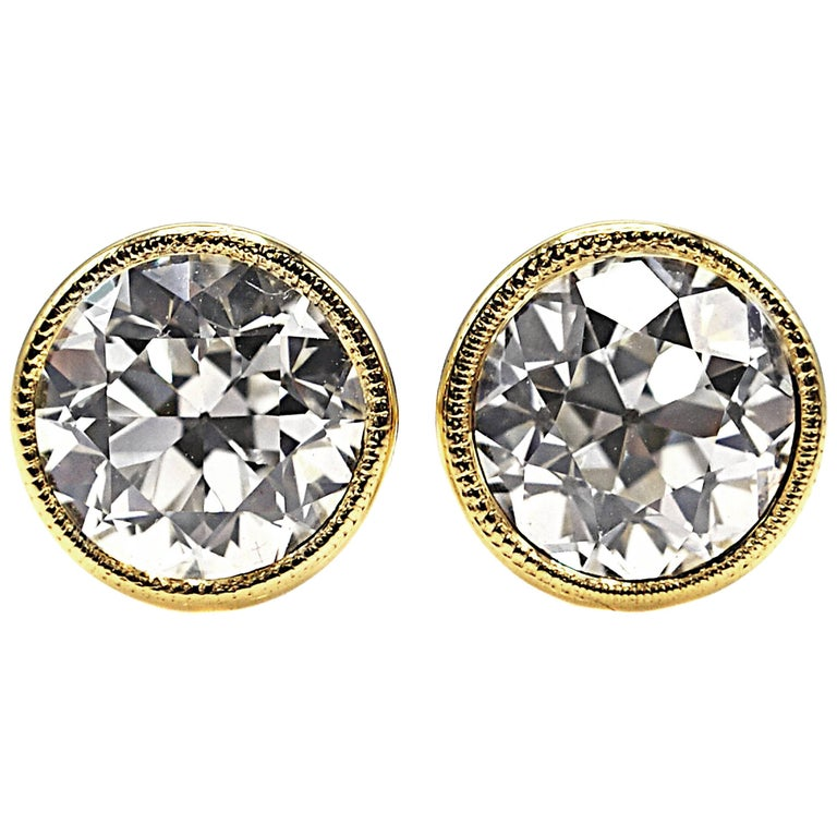 Old European Cut Diamond Gold Stud Earrings For Sale