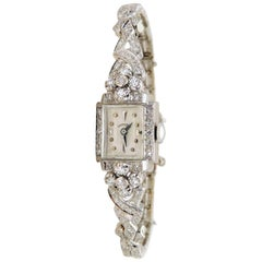 Hamilton Ladies White Gold Diamond Art Deco Luxury Manual Wristwatch