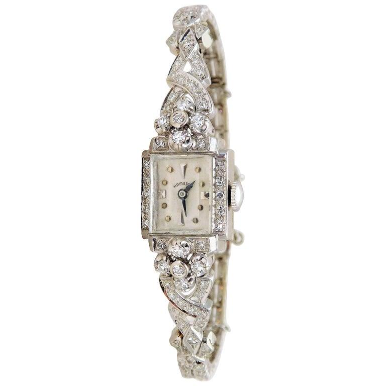 Hamilton Ladies White Gold Diamond Art Deco Luxury Manual Wristwatch 1