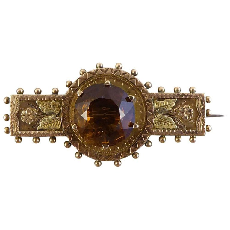 Victorian Two Color 9 Carat Gold Brooch Set with a Stunning Smoky Quartz