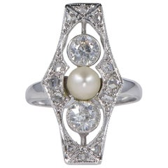 Belle Epoque Natural Pearl and Diamond Rare Panel Ring