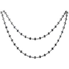 Antique Victorian Long Silver Paste Necklace, circa 1900