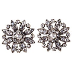 Antique Victorian Diamond Flower Cluster Silver and Gold Earrings